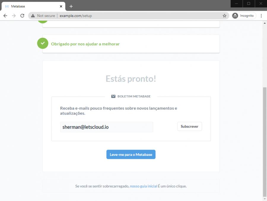 Instalação Concluida Metabase Portugues