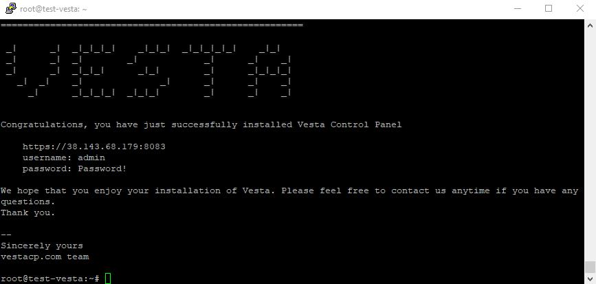 Install Complete Vesta