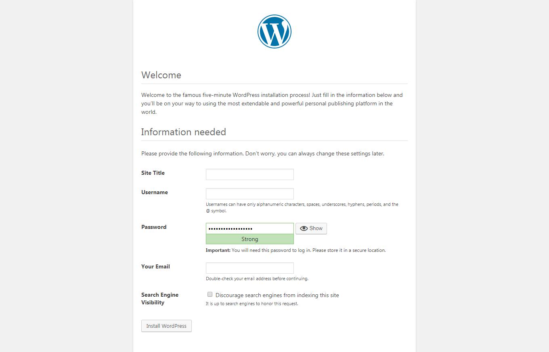 Wordpress Installation page